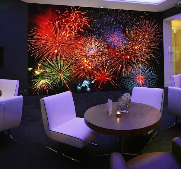Interior decorado con Fotomural Fireworks 131
