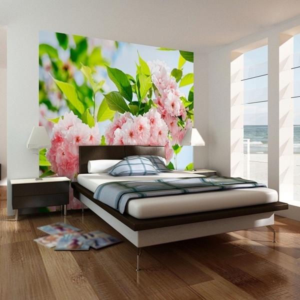 Interior decorado con Fotomural Sakura Blossom 133