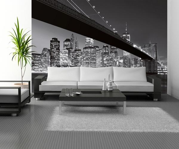 Interior decorado con Fotomural Brooklyn Bridge 140