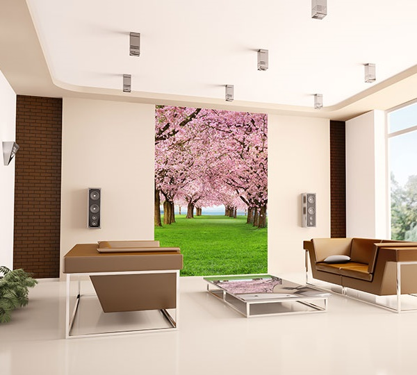 Interior decorado con Fotomural Cherry Trees 385