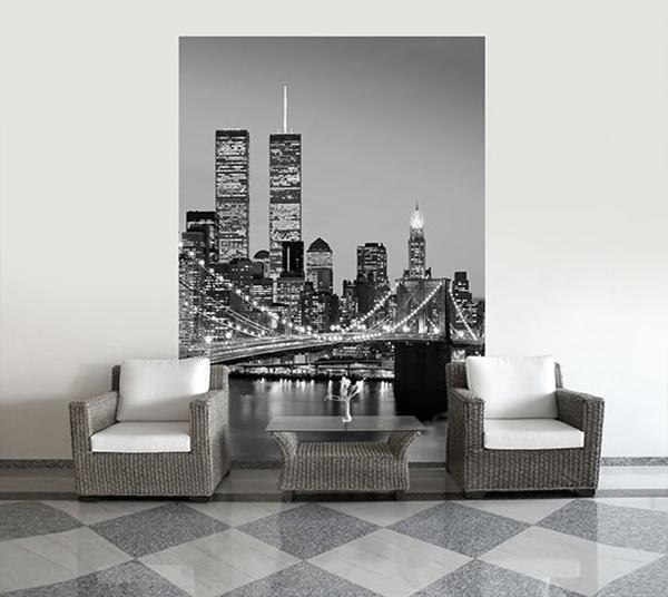 Interior decorado con Fotomural Manhattan Skyline at Night 388