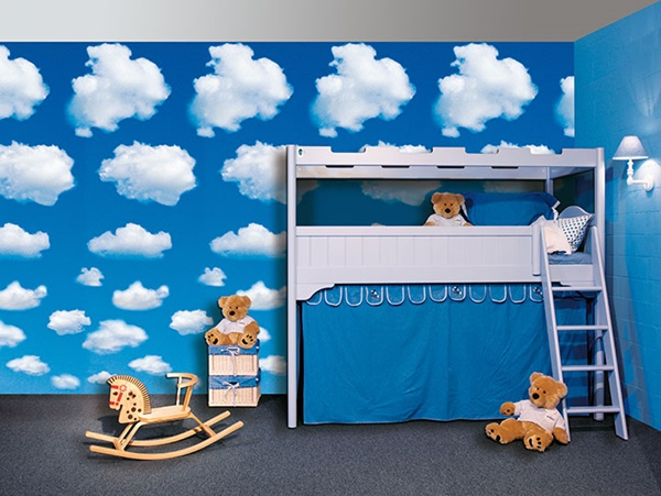 Interior decorado con Fotomural White Clouds 402