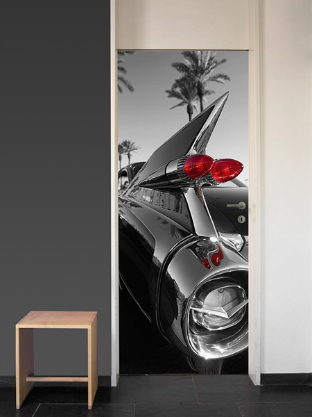 Interior decorado con Fotomural Puerta Classic Car 551
