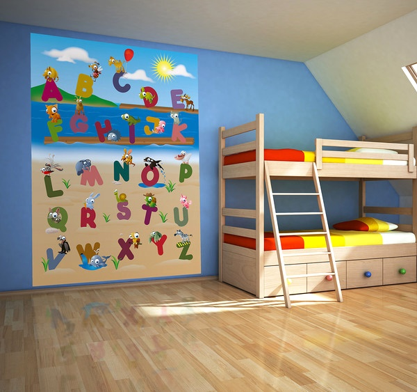 Interior decorado con Fotomural Animal Alphabet 383