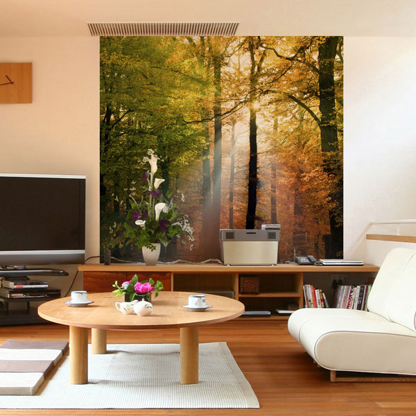 Interior decorado con Fotomural FOREST LIGHTS 170