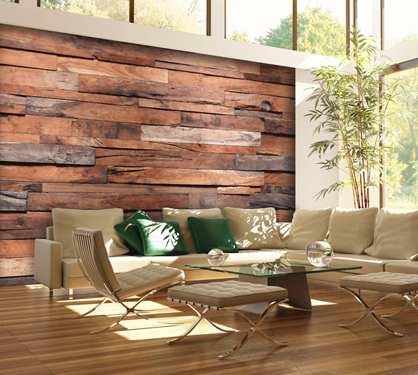 Interior decorado con Fotomural Wooden Wall 150