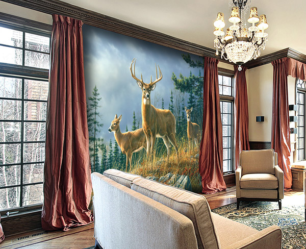 Interior decorado con Fotomural Autumn Whitetails 151