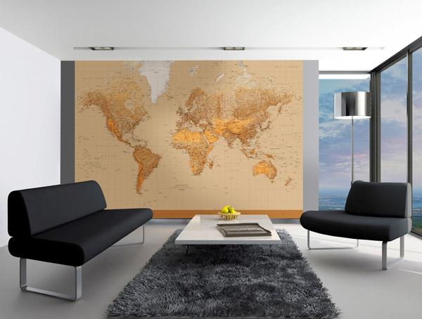 Interior decorado con Fotomural The World 153