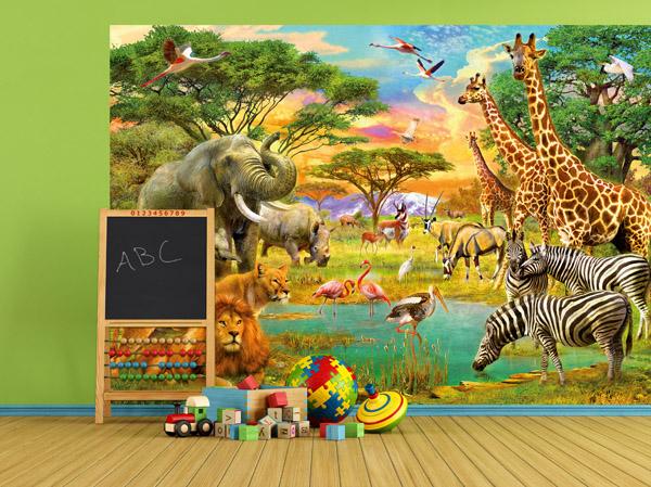 Interior decorado con Fotomural African Animals 154