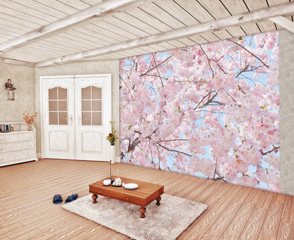 Interior decorado con Fotomural Pink Blossoms 155