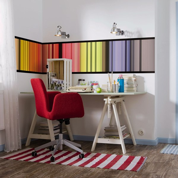 Interior decorado con Fotomural Stripes V1-717