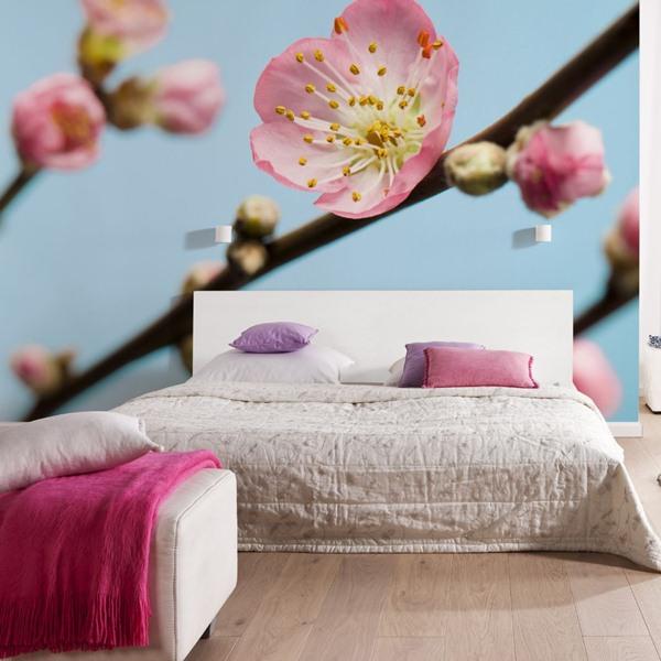 Interior decorado con Fotomural Peach Blossom V7-753