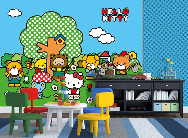 Interior decorado con Fotomural Hello Kitty Friends FT xxl 1472