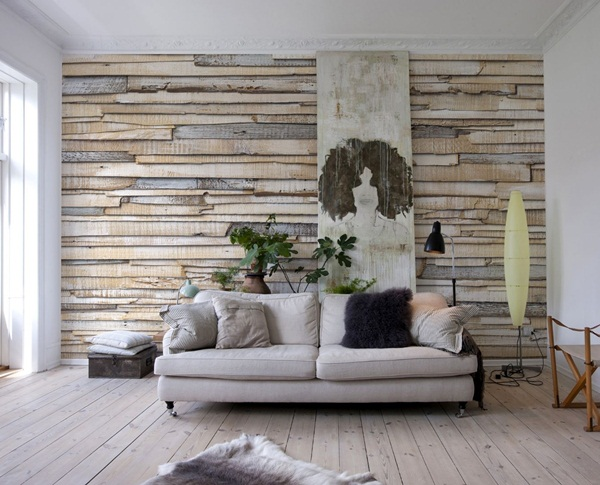 Interior decorado con Fotomural Whitewashed Wood 0NW-920