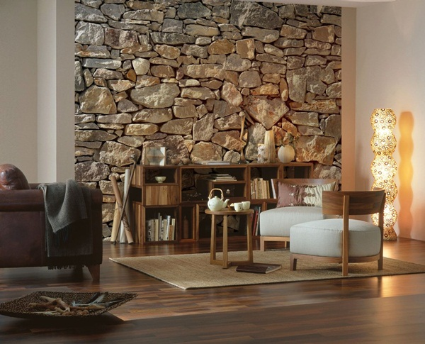 Interior decorado con Fotomural Stone Wall 8NW-727