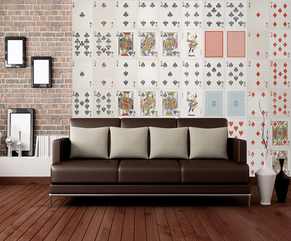 Interior decorado con Fotomural Creative Collage Playing Cards