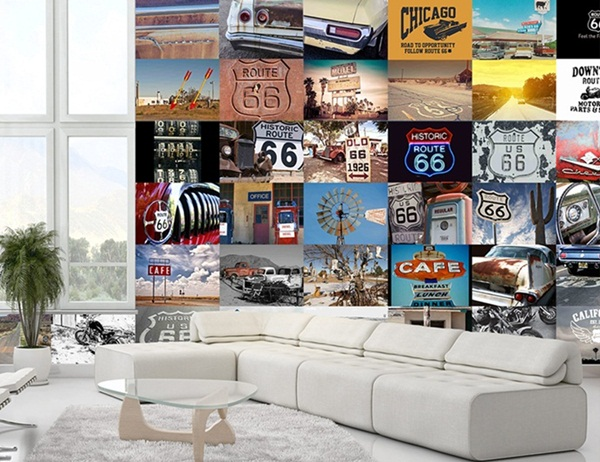 Interior decorado con Fotomural Creative Collage Route66