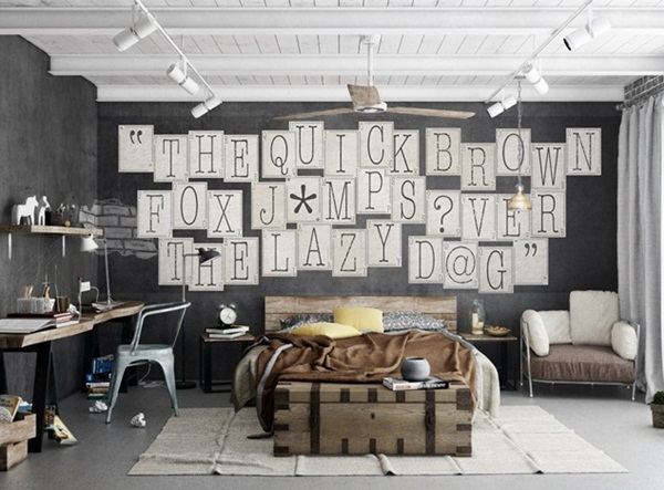 Interior decorado con Fotomural Creative Collage Typography