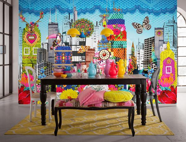 Interior decorado con Fotomural Melli Mello City 8-970